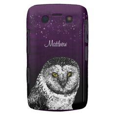 Big Bright Eyed Owl Dark Purple Star Lit Night Case-Mate Blackberry phone Case