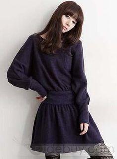 Fashion Korean Style Long Sleeve Knit Sweater Dresses : Tidebuy.com