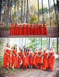 I love the color of these dresses, but I'm not crazy about their style - I like short bridesmaid dresses