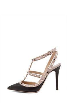 Valentino|Rockstud Leather Slingbacks T.100 in Black My Dream Shoe..... ahhhh