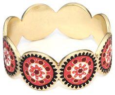 """Lucky Brand """"Gypsy Soul"""" Gold-Tone Red Bangle Bracelet"""