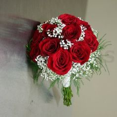 Beautiful red rose and baby's breath bouquet. by TinyCarmen