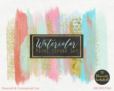 WATERCOLOR BRUSH STROKES Clipart Commercial Use by ClipArtBrat