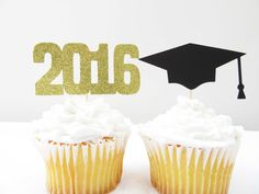 Graduation Decor | Grad cupcake toppers | black and gold https://www.etsy.com/listing/292377075/gradutation-cupcake-toppers-grad-cup