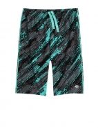 Brothers (Justice) teal/gray/black space dye Pattern Active Shorts (custom sized)