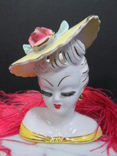 Lefton Lady Head Vase Yellow Hat Rose 1950s Japan Vintage | Etsy