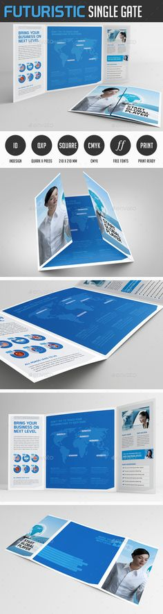 Futuristic Gate Fold Flyer — InDesign INDD #flyer #gate brochure • Available here → https://graphicriver.net/item/futuristic-gate-fold-flyer/8597139?ref=pxcr