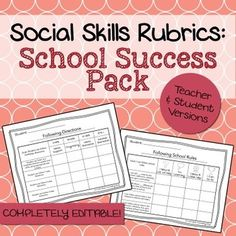 These rubrics were designed to help counselors, teachers, social workers, or SLPs keep track of a student's progress on #school success goals. The set includes 7 rubrics in both a teacher and student version (for a total of 14 rubrics + 2 blank ones to customize). Presented in PDF and editable Powerpoint format!