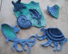 Crochet mar apliques/Home decoración niños/Underwater por elizal73