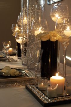 romantic-- center piece idea.  Tell me where I might find these oversized wine glass candle holders