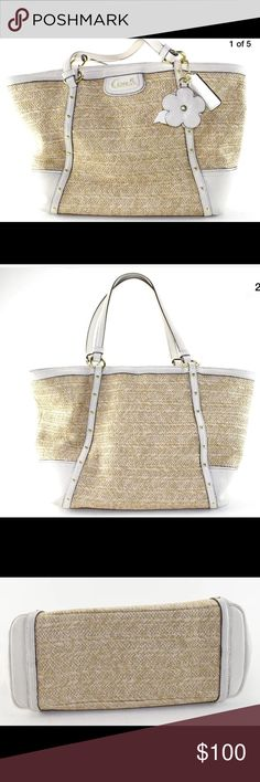 🌷Women's COACH Beige Tote Handbag Size Medium Women's COACH Beige Tote Handbag Size M  Product Details Features: Brand: COACH Style: Tote Gender: Women's Color: Beige Type: Handbag Handbag Size: M Measurements: Bag Height (In): 10 Bag Depth (In): 9.5 Bag Length (In): 16 Strap Drop (In): 9.58   Only Items Pictured Are Included In The Listing  Condition:  This Is A Great Purse. It Is In Excellent Condition And Has No Significant Signs Of Wear. Please See Photos. Coach Bags Totes