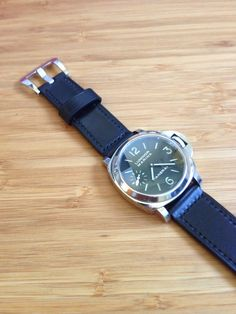 Panerai Strap handmade Black in Black, Leather Tannery Masure in Black & Linen Thread 3mm stitch Lin Cable 532 in Noir