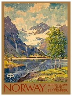 """Norway Vintage Travel Poster Art Print 12x16"""" Rare Hot New XR384 in Home & Garden, Home Décor, Posters & Prints 