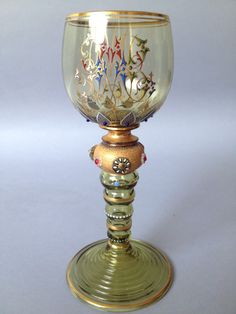 Magnificent 19th Century Moser Jeweled Enameled and Gilt Vine Glass
