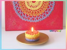 Mandala häkeln & Kerzen-Deko häkeln Birthday Candles, Candle Decorations, Painting Canvas, Easy Mandala, Threading, Tutorials, Gifts