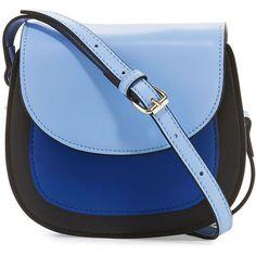 Kc Jagger Simone Colorblock Leather Mini Saddle Bag ($51) ❤ liked on Polyvore featuring bags, handbags, shoulder bags, light blue, blue leather handbags, genuine leather shoulder bag, blue leather purse, light blue handbags and light blue purse