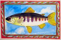 Ellie Wyeth, Place Mat - Fish w Red Border