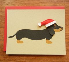 Teriyaki the Dachshund Doxie Holiday Christmas Wearing by Cuore