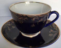 Vintage Russia Lomonosov Porcelain Cobalt Blue and Gold Tea Cup Set