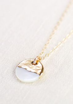 gold dipped mother of pearl necklace - Picmia