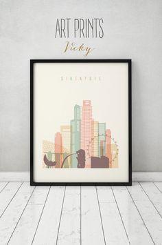 Singapur-print Plakat Wandkunst Skyline von von ArtPrintsVicky