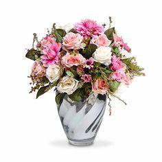 Arranjos de flores artificiais Rosas coloridas provençais no vaso cachepot de vidro espelhado, flores em seda com corte a laser. O rosa é responsavel por toda a delicadeza e sutileza e o elegância com um toque de modernidade na decoração, as duas cores juntas transformam o ambiente numa atmosfera completamente encantadora. Pode ser levado a mesa sem interferir no cheiro da comida. Excelente para os alérgicos. Incontestável em durabilidade comparada a natural. As sugestoes de uso são muita...