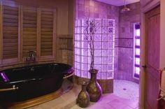 Cozy bathroom w tub and low maintenance shower