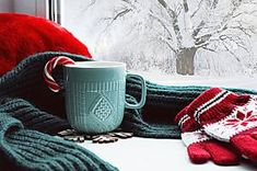 Winter background - cup with candy cane, woolen scarf and gloves on windowsill and winter scene outdoors. Still life with concept of spending winter time at cozy home with cold weather outdoors , Antipasto, Skinny Tea Reviews, Ice Fishing Huts, Woolen Scarves, Winter Background, Green Tea Extract, Flower Tea, Winter Is Coming, Winter Scenes