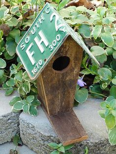 Rustic Birdhouse with a license plate