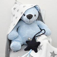 Peluche ourson Cable Uni bleu ciel (35 cm) : Baby's Only