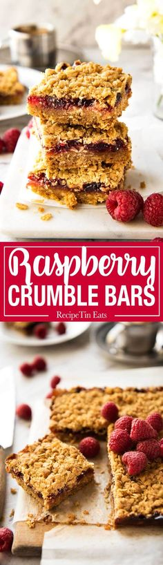 Raspberry Bars - One of the fastest bars to make from scratch, these have an oatmeal biscuit base, raspberry jam and a crumbly…