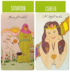 5-8-13 Thursday's Tarot: QUEEN OF PENTACLES + THE HIGH PRIESTESS (Peaceful Path Tarot): Today focuses on your management, leadership, and organization in the area of work and career. You've got the drive to accomplish great things . . . but all great things require time and patience.