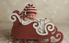 Go beyond hats, scarves and outfits with this handcrafted wooden sleigh photography prop from Mr. & Mrs. and Co. on Etsy!