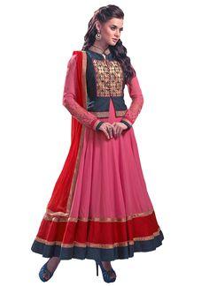 d889c2e06 EthnicBasket Semi Stitched Anarkali Salwar Kameez In Pink Color.  Uttamvastra - Try Something New Today · Latest Salwar Suit Online - Buy  Designer ...
