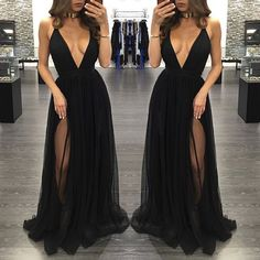Sexy Deep V Neck Prom Dresses,A Line Spaghetti Straps Front Split Prom Dress,Cheap Black Chiffon Evening Prom Dresses,Elegant Prom Gowns,Long Evening Gowns