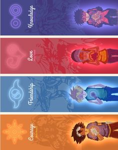 Tai :Crest of Courage                                  Matt :Crest of Friendship                              Sora :Crest of Love                                     Izzy :Crest of Knowledge