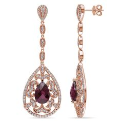 Miadora Signature Collection 14k Rose Gold Rhodolite, White Sapphire and 1/6ct TDW Diamond Teardrop Dangle Earrings