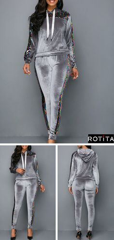 18c718796c73 Pullover Hooded Collar Sequin Embellished Top and Pants.This tops and pants  style will have