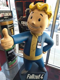 This GameStop here has a life-sized Vault Boy with the signatures of all the developers