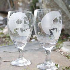 wine glasses skulls set of two hand engraved glass water goblets , custom barware  gift ideas