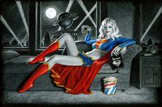 Supergirl Blackboard, pin up, comic art, Greg Hildebrandt Comic Book Girl, Comic Books Art, Comic Art, Book Art, Supergirl Comic, Dc Comics, Comics Girls, Hq Dc, Comic Kunst