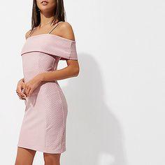 New Ex Debenhams Ladies Pink Spotted Bardot Cold Shoulder Top Size 10-18