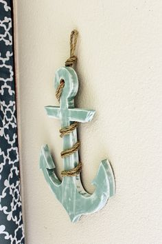 Nautical Wood Anchor with Rope, Beach Decor, Nautical Decor, Blue Anchor, Wooden Anchor, Lake Decor