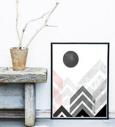 Abstract Geometric Print, Printable Art, Abstract Mountains, Scandinavian Design, Minimalist Art, Abstract Wall Art, Instant Download  Printable Art