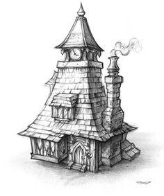 Artist Study Resources for Art Students with Creative, Uncut, CAPI ::: Creating Art Portfolio Ideas 3d Fantasy, Fantasy House, House Sketch, House Drawing, Art Sketches, Art Drawings, Drawings Of Buildings, Wow Art, Art Et Illustration