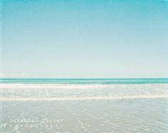 Beach photograph blue teal turquoise aqua white by SusannahTucker, $30.00