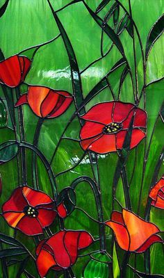Poppies stained glass...I need this for my bedroom window.