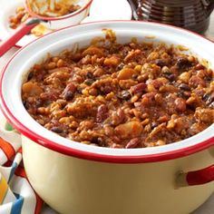 Smoky Baked Beans Recipe from Taste of Home -- shared by Lynne German of Cumming, Georgia