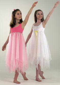 Lyrical Dress in White Item 3187 from Danceforce - Ballet Tutu, Ballet Skirt, Ballerina Outfits, Lyrical Dance Dresses, Praise Dance, Little Ballerina, Dance Costumes, Dance Wear, White Dress