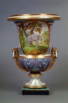 Coalport Porcelain Urn, circa 1800-1805. Handpainted in overglaze enamels with Hyaena | Shrewsbury Museums Services